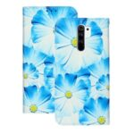 Pattern Printing Leather Wallet Stand Case for Xiaomi Redmi 9 – Blue Flower