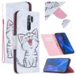 Pattern Printing Cell Phone Leather Wallet Case for Xiaomi Redmi 9 – Happy Cat