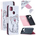 Pattern Printing Leather Wallet Cover for Xiaomi Redmi 9C – Happy Cat
