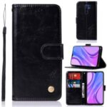 Premium Vintage Leather Wallet Stand Case for Xiaomi Redmi 9 – Black