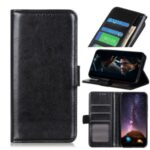 Crazy Horse Texture Leather Wallet Phone Cover Case for Alcatel 1SE (2020) – Black