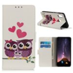 Protective Patterned Flip Cover PU Leather Wallet Shell for Alcatel 1SE (2020) – Owls and Hearts