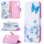 Pattern Printing Leather Wallet Shell Case for OPPO A31 (2020)/A81 – Blue Butterfly and Flowers