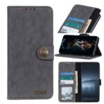 KHAZNEH Retro Split Leather Protective Shell Wallet Stand Phone Cover for OnePlus Nord – Black