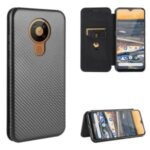 Carbon Fiber Texture Leather Auto-absorbed Phone Casing for Nokia 5.3 – Black