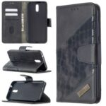 Assorted Color Crocodile Skin Shell Leather Wallet Case for Nokia 2.3 – Black