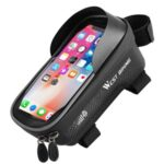 WEST BIKING Bike Bicycle Bag Waterproof Bike Upper Tube Bag Phone Mount Bag Front Frame Top Tube Handlebar Bag with Touch Screen Holder Case for Phones