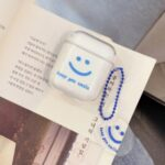 Soft TPU Smiling Face with Pendant Cover for Apple AirPods with Wireless Charging Case (2019) / AirPods with Charging Case (2019) (2016) – Blue
