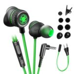 PLEXTONE G15 Earphone Universal 3.5mm Plug Wire Control Headset Subwoofer In-ear Headphones with Mic – Green