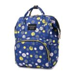Diaper Backpack Cartoon Pattern Baby Nappy Backpack Large Multifunctional Diaper Bag Mommy Maternity Bag – Dark Blue/Circle