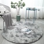 Round Fluffy Rug Carpet Non Slip Soft Rugs Floor Mat – Light Grey/Diameter 80cm