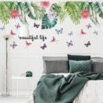 Leaf Butterfly Pattern Wall Stickers Home Decor Adhesive Wallpaper Mural Art Decal
