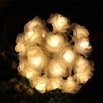 Rose Flower Bulb 20-LED Solar String Lights Outdoor Garden Fairy Lamp Decor – Warm White