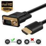 1.8m HD 1080P HDMI Male to VGA Male Active Video Adapter Converter Cable