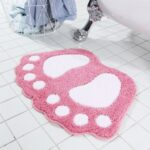 Little Feet Pattern Non-slip Bath Mat Water Absorption Bathroom Rug Floor Carpet 40 x 60cm – Pink//40 x 60cm