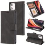 Classic Style Leather Wallet Stand Phone Cover Case for iPhone 12 5.4-inch – Black