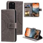 Phone Cover Imprint Flower Leather Wallet Case for iPhone 12 Max/Pro 6.1 inch – Grey