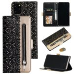 Lace Flower Pattern Zipper Pocket Leather Wallet Phone Shell for iPhone 12 5.4 inch – Black