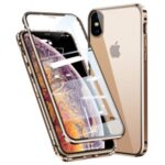 Magnetic Installation Metal Frame + Tempered Glass Full Covering Phone Case for iPhone X/XS 5.8 inch – Gold