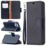Litchi Surface with Wallet Leather Stand Case for iPhone 12 Pro / iPhone 12 Max 6.1-inch – Black
