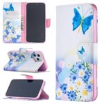 Hot Style Pattern Printing Leather Wallet Case for iPhone 12 Pro Max 6.7 inch – Blue Butterfly and Flowers
