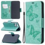 Imprint Butterfly Shell Wallet Leather Stand Case for iPhone 12 Pro Max 6.7 inch – Green