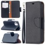 Litchi Surface with Wallet Leather Stand Case for iPhone 12 5.4-inch – Black