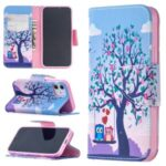 Pattern Printing Case Wallet Stand Leather Shell Protector for iPhone 12 5.4 inch – Owl and Tree