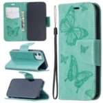 Imprint Butterfly Wallet Leather Stand Case for iPhone 12 5.4-inch – Cyan