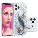 Stylish Pattern Glitter Powder Quicksand TPU Shell Phone Case for iPhone 12 Max/Pro 6.1 inch – Feather