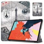Printing Skin PU Leather Tri-fold Tablet Shell for iPad 10.8-inch (2020) – Eiffel Tower