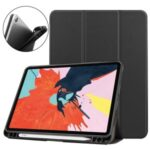 Litch Skin PU Leather Tri-fold Stand Tablet Cover with Pen Slot for Apple iPad 10.8 (2020) – Black