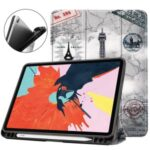 Pattern Printing PU Leather Tri-fold Stand Tablet Case for iPad 10.8-inch (2020) – Eiffel Tower