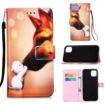 Leather Shell Style Printing Wallet Stand Case with Lanyard for iPhone 12 5.4 inch – Fox