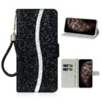 Glittery Powder Splicing Wallet Stand Leather Protective Case for iPhone 12 Pro/12 Max 6.1 inch – Black