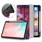 Pattern Printing PU Leather Tri-fold with Pen Slot Tablet Cover for Apple iPad Air (2020)/iPad Air 4/iPad Air (4th generation) – Galaxy Pattern