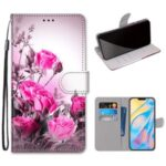 Pattern Printing Cross Texture Leather Wallet Phone Cover with Strap for iPhone 12 Pro Max 6.7 inch – Rose