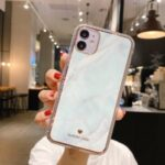 IMD Design Marble Pattern TPU Protector Phone Cover for iPhone 12 Max 6.1 inch – White