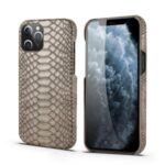 Snake Texture  PU Leather Coated PC Hard Case for iPhone 12 Max 6.1 inch – Light Grey