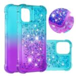Shockproof Gradient Glitter Powder Quicksand TPU Case for iPhone 12 5.4 inch – Cyan / Purple
