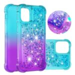Shockproof Gradient Glitter Powder Quicksand TPU Back Case for iPhone 12 Pro/12 Max 6.1 inch – Cyan / Purple