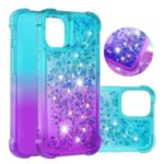 Shockproof Gradient Glitter Powder Quicksand TPU Back Shell for iPhone 12 Pro Max 6.7 inch – Cyan / Purple