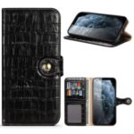 Crocodile Skin Wallet Stand Leather Phone Cover Case for iPhone 12 Pro / iPhone 12 Max 6.1-inch – Black