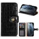 Crocodile Skin Wallet Stand Leather Phone Cover Case for iPhone 12 5.4-inch – Black