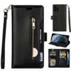 Zippered Multi-slot with Wallet Leather Cover for iPhone 12 Pro Max 6.7 inch – Black