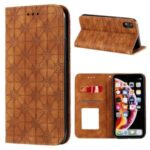 Imprint Flower Pattern Auto-absorbed Stand Phone Cover Case with Card Slots for iPhone XR 6.1-inch – Brown