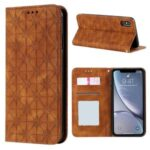 Imprint Flower Pattern Auto-absorbed Stand Phone Cover Case with Card Slots for iPhone XS Max 6.5-inch – Brown