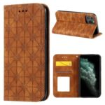 Imprint Flower Pattern Auto-absorbed Stand Phone Cover Case with Card Slots for iPhone 11 Pro 5.8-inch – Brown