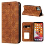Imprint Flower Pattern Auto-absorbed Stand Phone Cover Case with Card Slots for iPhone 11 6.1-inch – Brown