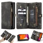 CASEME Multi-function 2-in-1 Wallet TPU+Split Leather Phone Case for iPhone 12 5.4 inch – Black